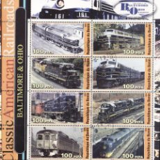 Sellos: BENIN 2003 HOJA BLOQUE SELLOS TRENES FERROCARRILES CLASICOS DE EEUU- LOCOMOTORAS- LOCOMOTIVES- TREN. Lote 42913391