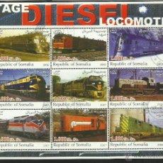 Sellos: SOMALIA 2002 HOJA BLOQUE DE SELLOS LOCOMOTORAS DIESEL- TRENES- TRANVIA- TREN- TRAINS- RAILWAYS. Lote 43325530