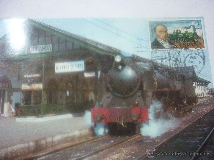 LOCOMOTORA MIKADO. ESTACIÓN DE MIRANDA DE EBRO 1972. EXP FILATÉLICA CALELLA 1999 (Sellos - Temáticas - Trenes y Tranvias)