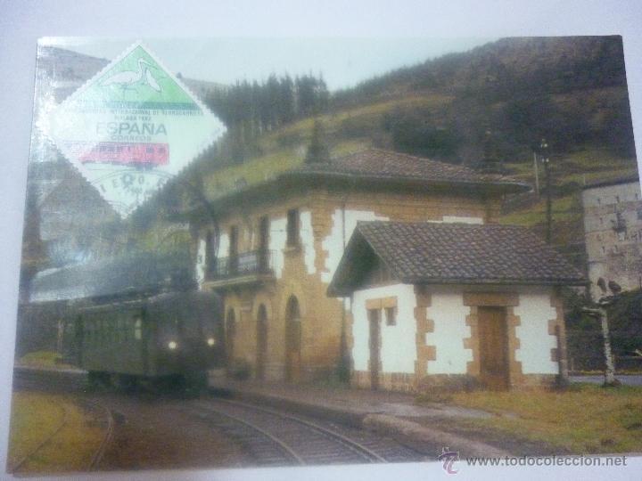 FERROCARRIL DEL UROLA. COCHE MOTOR Nº3 USUA. ESTACIÓN CESTONA BALNEARIO. EXP FILATÉLICA CALELLA 1999 (Sellos - Temáticas - Trenes y Tranvias)