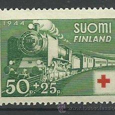 Sellos: SUOMI FINLANDIA 1944 SELLO DE LA CRUZ ROJA - TRENES- TREN- TRAINS- RED CROSS. Lote 43643969