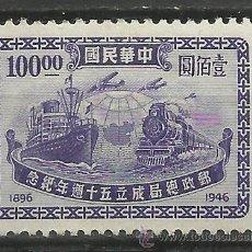 Sellos: CHINA 1946 SELLO TRANSPORTE BARCOS- AVION - TRENES- LOCOMOTORAS- TREN- TRAINS- . Lote 43675808