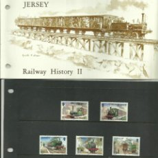 Sellos: JERSEY 1985- ESTUCHE PRESENTACION SELLOS HISTORIA TRENES II- TREN- RAILWAIS- FERROCARRIL. Lote 45164841