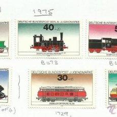 Sellos: ALEMANIA BERLIN 1975 LOTE DE SELLOS FERROCARRIL- TRENES- LOCOMOTORAS- TREN- TRAINS- RAILWAYS. Lote 45939577