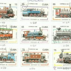 Sellos: CUBA 1996 LOTE DE SELLOS FERROCARRIL- TRENES- LOCOMOTORAS- TREN- TRAINS. Lote 155176665