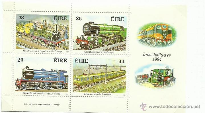 IRLANDA EIRE 1984 HOJA BLOQUE DE SELLOS FERROCARRIL- TRENES- LOCOMOTORAS- TREN- TRAINS (Sellos - Temáticas - Trenes y Tranvias)
