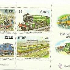 Sellos: IRLANDA EIRE 1984 HOJA BLOQUE DE SELLOS FERROCARRIL- TRENES- LOCOMOTORAS- TREN- TRAINS. Lote 45976682