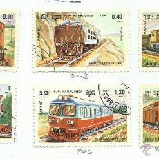 Timbres: KAMPUCHEA 1984 LOTE DE SELLOS FERROCARRIL- TRENES- LOCOMOTORAS- TREN- BARCOS- AVION- AVIONES. Lote 45977684