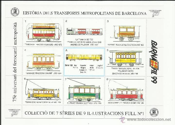 HISTORIA TRANSPORTS METROPOLITANS DE BARCELONA 1999 HOJITA 1 NUEVO*** (Sellos - Temáticas - Trenes y Tranvias)