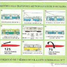 Sellos: HISTORIA TRANSPORTS METROPOLITANS DE BARCELONA 1999 HOJITA 7 NUEVA***. Lote 206247867