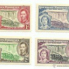 Sellos: RHODESIA DEL SUR 1937 LOTE DE SELLOS CORONACION REY GEORGE V- REINA ISABEL LOCOMOTORAS- TREN- TRENES. Lote 46016392