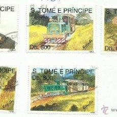 Sellos: ST TOME E PRINCIPE 1993 LOTE DE SELLOS FERROCARRIL- LOCOMOTORAS- TREN- TRENES- TRANVIAS- TRAINS. Lote 46038983