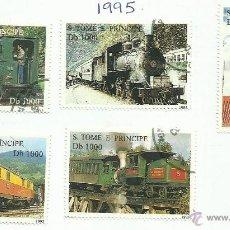 Sellos: ST TOME E PRINCIPE 1995 LOTE DE SELLOS FERROCARRIL- LOCOMOTORAS- TREN- TRENES- TRANVIAS- TRAINS. Lote 46039022