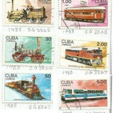 Sellos: CUBA 1988 LOTE DE SELLOS CARRUAJES ANTIGUOS FERROCARRIL- LOCOMOTORAS- TRENES- TREN- TRANVIA . Lote 46069567