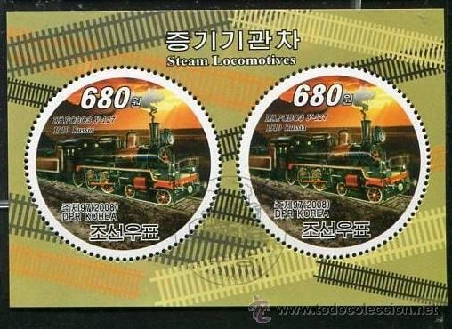 COREA 2008 HOJA BLOQUE DE SELLOS REDONDOS TRANSPORTE TREN EN RUSIA- TRAINS- LOCOMOTORA (Sellos - Temáticas - Trenes y Tranvias)