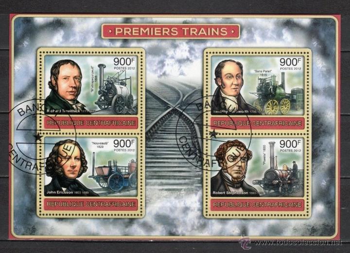 R. CENTROAFRICANA 2012 HOJA DE BLOQUE SELLOS PRIMEROS TRENES- TREN- LOCOMOTORAS (Sellos - Temáticas - Trenes y Tranvias)