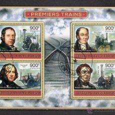 Sellos: R. CENTROAFRICANA 2012 HOJA DE BLOQUE SELLOS PRIMEROS TRENES- TREN- LOCOMOTORAS. Lote 47690282