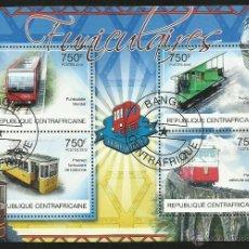Sellos: R. CENTROAFRICANA 2012 HOJA DE BLOQUE SELLOS TELEFÉRICOS- TRENES- TRANVIAS- TREN. Lote 47690386
