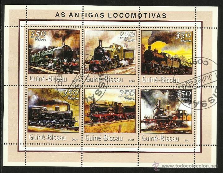 GUINEA 2001 HOJA BLOQUE SELLOS TEMATICA TREN - LOCOMOTORAS ANTIGUAS- TRENES - TRANVIA - TRAINS (Sellos - Temáticas - Trenes y Tranvias)