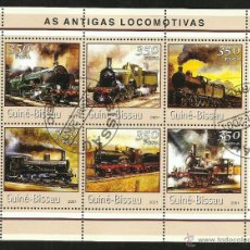 Sellos: GUINEA 2001 HOJA BLOQUE SELLOS TEMATICA TREN - LOCOMOTORAS ANTIGUAS- TRENES - TRANVIA - TRAINS . Lote 48154187