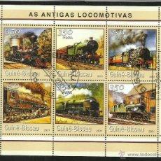 Sellos: GUINEA 2001 HOJA BLOQUE SELLOS TEMATICA TREN - LOCOMOTORAS ANTIGUAS- TRENES - TRANVIA - TRAINS . Lote 48154212
