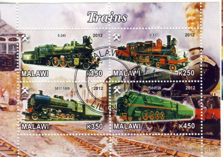 MALAWI 2012 HOJA BLOQUE SELLOS TEMATICA TREN - LOCOMOTORAS A VAPOR- TRENES - TRANVIA - TRAINS (Sellos - Temáticas - Trenes y Tranvias)