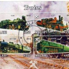 Sellos: MALAWI 2012 HOJA BLOQUE SELLOS TEMATICA TREN - LOCOMOTORAS A VAPOR- TRENES - TRANVIA - TRAINS . Lote 48155120