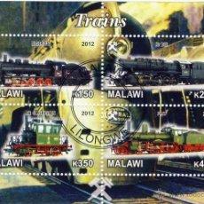 Sellos: MALAWI 2012 HOJA BLOQUE SELLOS TEMATICA TREN - LOCOMOTORAS A VAPOR- TRENES - TRANVIA - TRAINS . Lote 48155129