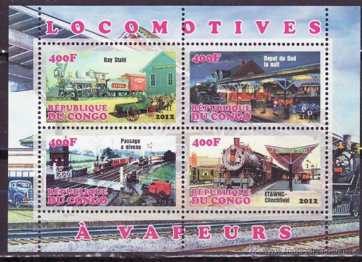 CONGO 2012 HOJA BLOQUE SELLOS TEMATICA TREN - LOCOMOTORAS A VAPOR- TRENES - TRANVIA - TRAINS (Sellos - Temáticas - Trenes y Tranvias)