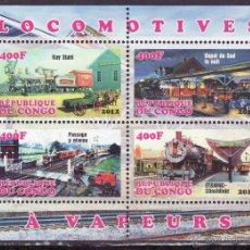 Sellos: CONGO 2012 HOJA BLOQUE SELLOS TEMATICA TREN - LOCOMOTORAS A VAPOR- TRENES - TRANVIA - TRAINS . Lote 48155167