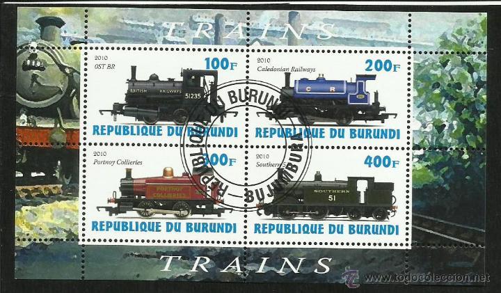 BURUNDI 2010 HOJA BLOQUE SELLOS TEMATICA TREN - LOCOMOTORAS- TRENES - TRANVIA - TRAINS (Sellos - Temáticas - Trenes y Tranvias)
