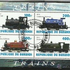 Sellos: BURUNDI 2010 HOJA BLOQUE SELLOS TEMATICA TREN - LOCOMOTORAS- TRENES - TRANVIA - TRAINS . Lote 48174755