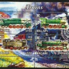 Sellos: MALAWI 2012 HOJA BLOQUE SELLOS TEMATICA TREN - LOCOMOTORAS A VAPOR- TRENES - TRANVIA - TRAINS . Lote 48177615