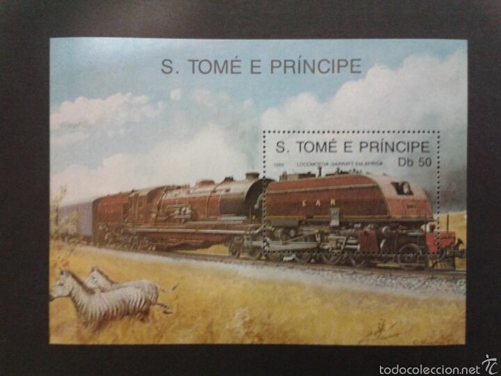 SELLOS DE SANTO TOMÉ Y PRÍNCIPE. TRENES. YVERT HB-69A. SERIE COMPLETA NUEVA SIN CHARNELA. (Sellos - Temáticas - Trenes y Tranvias)