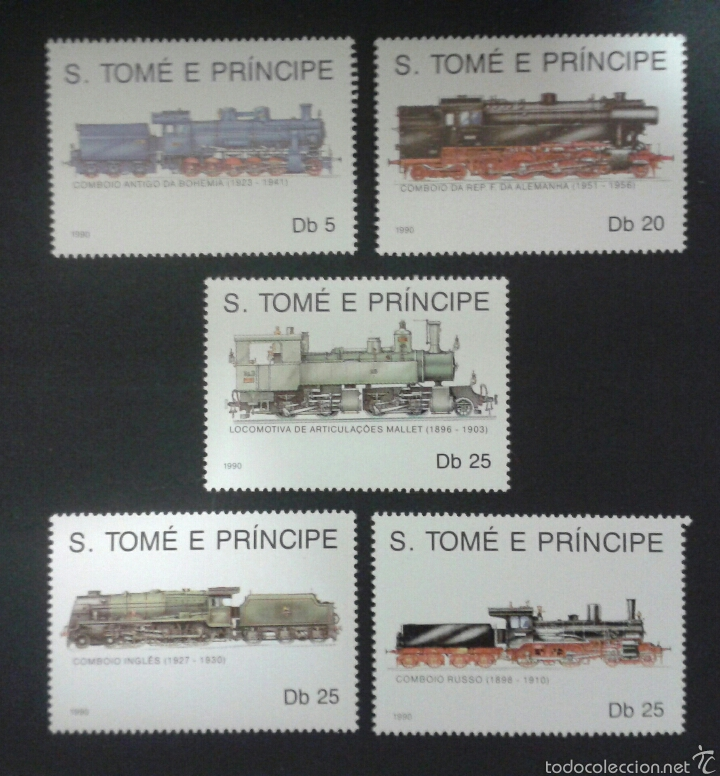 SELLOS DE SANTO TOMÉ Y PRÍNCIPE. TRENES. YVERT 997/1001. SERIE COMPLETA NUEVA SIN CHARNELA. (Sellos - Temáticas - Trenes y Tranvias)