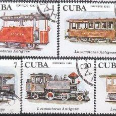 Sellos: CUBA, 2357/61, PRIMERAS LOCOMOTORAS, USADO. Lote 58813056