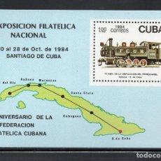 Sellos: CUBA HB 86** - AÑO 1984 - TRENES - 75º ANIV. DE LA UNIFICACIÓN DEL FERROCARRIL HABANA - SANTIAGO. Lote 61949808