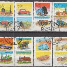 Sellos: OMAN, TRENES Y COCHES, USADO (SERIE COMPLETA). Lote 65783158