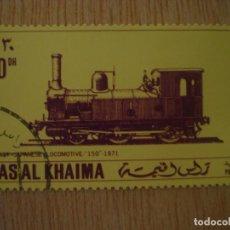 Timbres: SELLO RAS AL KHAIMA - EMIRATOS ÁRABES UNIDOS - TREN LOCOMOTORA JAPONESA 1871 - 30 DH / SELLOS TRENES. Lote 67293333