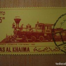 Timbres: SELLO RAS AL KHAIMA - EMIRATOS ÁRABES UNIDOS - TREN LOCOMOTORA JAPONESA 1880 - 35 DH / SELLOS TRENES. Lote 67293573