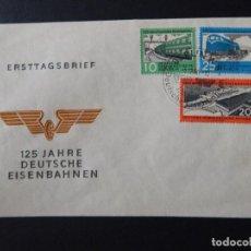 Sellos: ERSTTAGSBRIEF. 125 JAHRE DEUTSCHE EISENBAHNEN - BERLIN 1960 - TRENES, FERROCARRILES. Lote 77953001