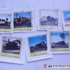 Timbres: LOTE DE 7 SELLOS DE GUINEA ECUATORIAL : TRENES ANTIGUOS.. Lote 84890944