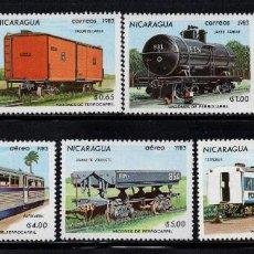 Sellos: NICARAGUA 1264/67 Y AÉREO 1022/24** - AÑO 1983 - TRENES - VAGONES . Lote 116306964