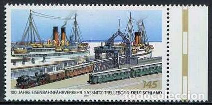 ALEMANIA - 100 ANIV. FERRY SASSNITZ-TRELLEBORG (2009) ** (Sellos - Temáticas - Trenes y Tranvias)