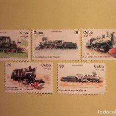 Sellos: CUBA 1996 - LOCOMOTORAS A VAPOR - AMERICAN, BALDWIN Y ROGER, . Lote 157168618