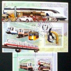 Sellos: TRANSPORTE URBANO 2 HOJAS BLOQUE DE SELLOS USADOS RECIENTES AUTÉNTICOS DE GUINEA BISSAU. Lote 95664822