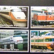 Sellos: NIGER 1998 TRAINS ET LOCOMOTIVES JAPONAIS TRENES DEL MUNDO YVERT 1239 / 1242 ** MNH. Lote 104341907