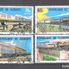 Sellos: YIBUTI Nº 491/494º FERROCARRIL DE YIBUTI A ADIS ABEBA. SERIE COMPLETA. Lote 105325919