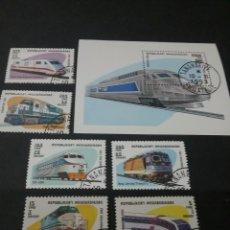Sellos: HB/SELLOS(6V) DE MADAGASCAR MATASELLADOS.1993. TRENES. LOCOMOTORAS. MAQUINAS VAPOR. TRANSPORTES.. Lote 105480302