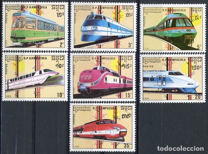 CAMBOYA - KAMPUCHEA 1989 IVERT 864/70 *** FERROCARRILES DE ALTA VELOCIDAD - LOCOMOTORAS - TRENES (Sellos - Temáticas - Trenes y Tranvias)